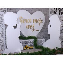 Inicjały ślubne z obrysem